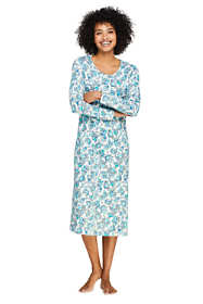 Women's Petite Midcalf Supima Cotton Nightgown Print Long Sleeve