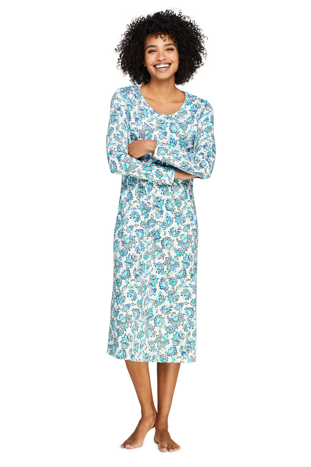 eeb9a97576 Women s Midcalf Supima Cotton Nightgown Print Long Sleeve from Lands  End