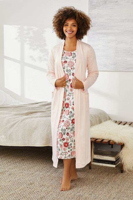 Women's Plus Size Supima Cotton Long Sleeve Midcalf Nightgown - Print