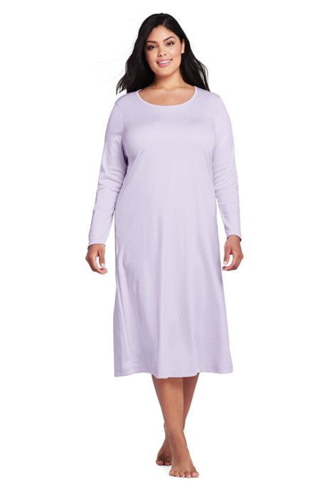 Women's Plus Size Midcalf Supima Cotton Nightgown Print Long Sleeve