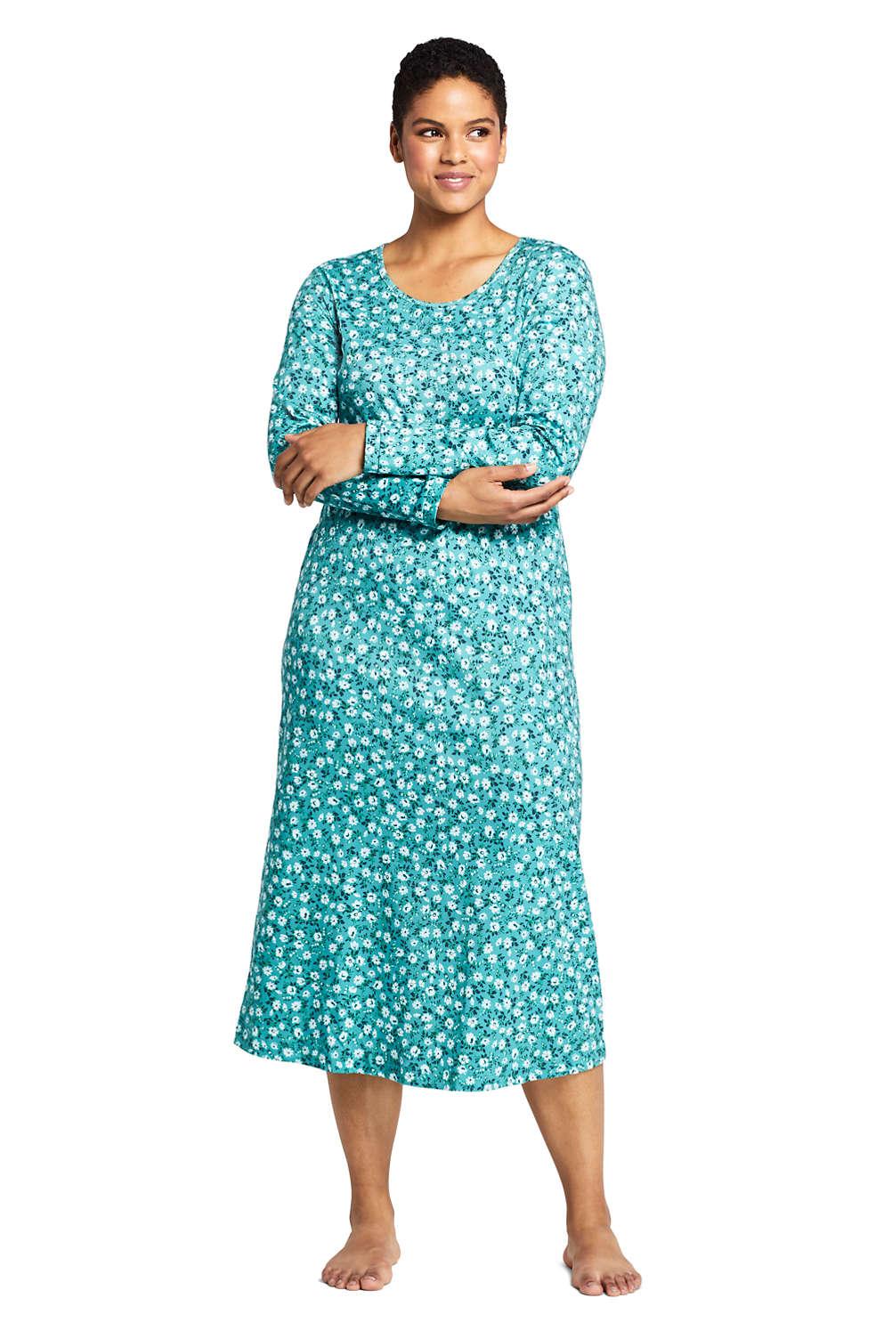 847e1d139 Women's Plus Size Supima Cotton Long Sleeve Midcalf Nightgown - Print