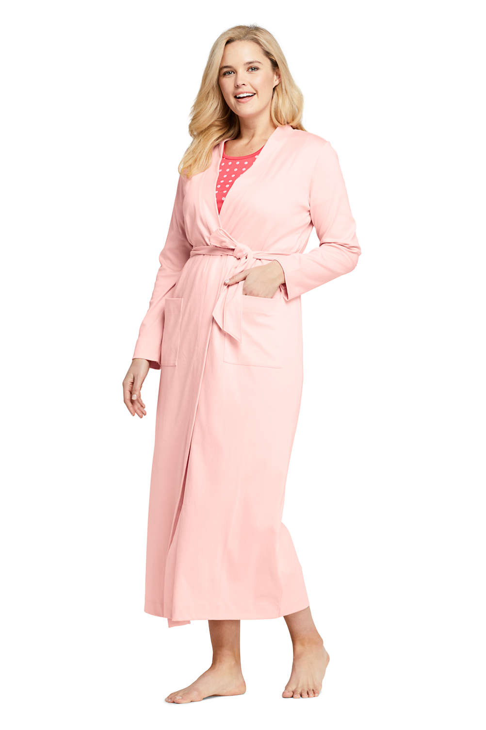cace45fb337 Women s Plus Size Supima Cotton Long Robe from Lands  End