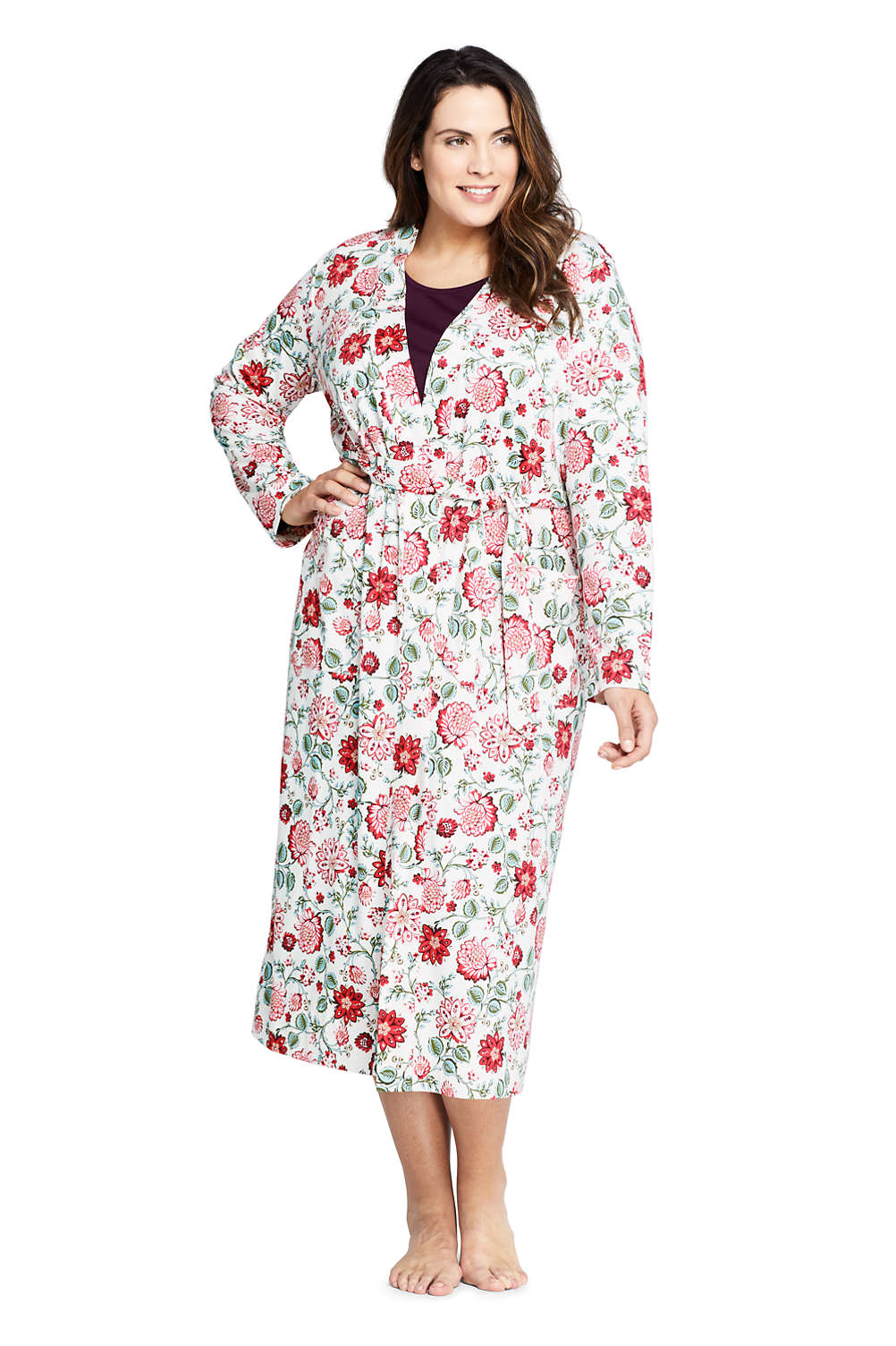 beautiful style pick up fashion style of 2019 Women's Plus Size Long Sleeve Print Supima Cotton Robe