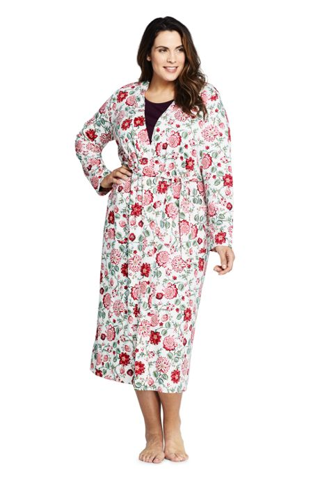 Women's Plus Size Long Sleeve Print Supima Cotton Robe