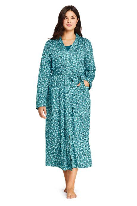 Women's Plus Size Long Sleeve Print Supima Cotton Robe