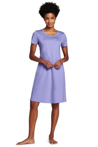 Knielanges Supima Kurzarm-Nachthemd für Damen