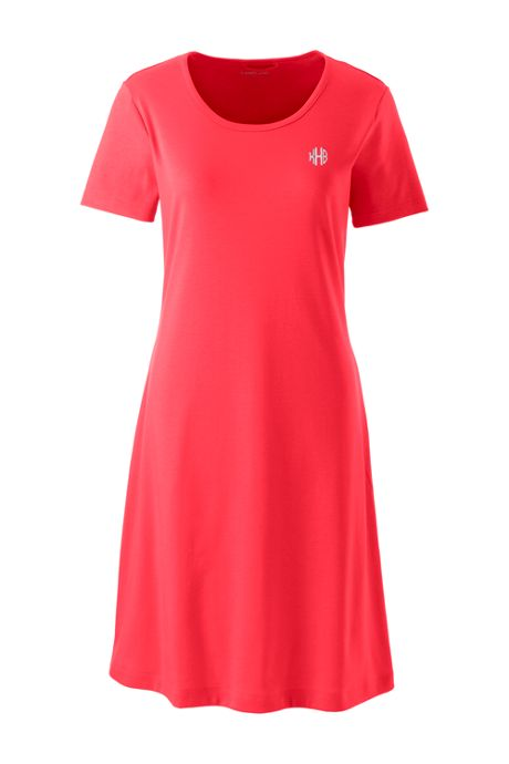 Women's Petite Supima Cotton Short Sleeve Knee Length Nightgown