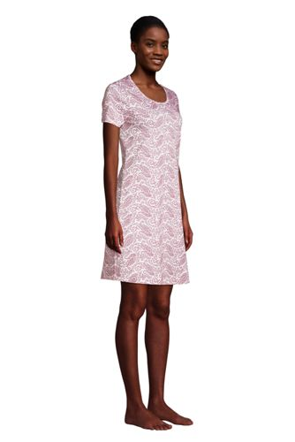 Women's Petite Supima Cotton Short Sleeve Knee Length Nightgown Dress