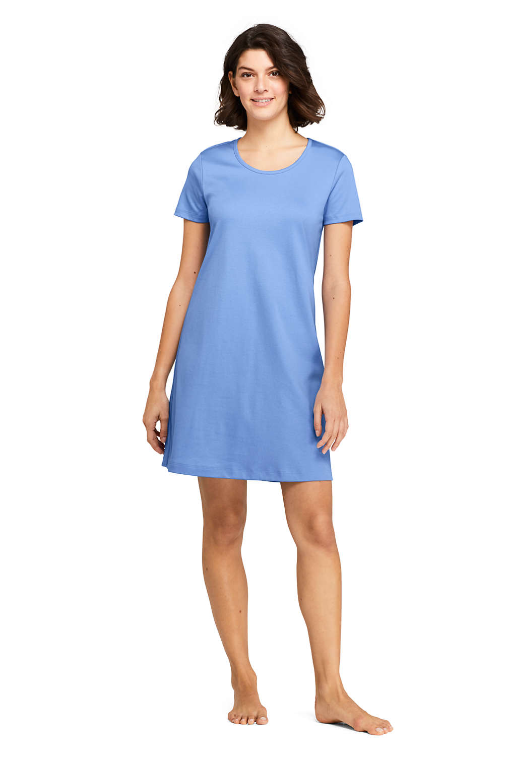 Women s Knee Length Supima Cotton Nightgown Short Sleeve from Lands  End 8dcbb398c0