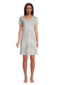 Women's Petite Supima Cotton Short Sleeve Knee Length Nightgown Dress