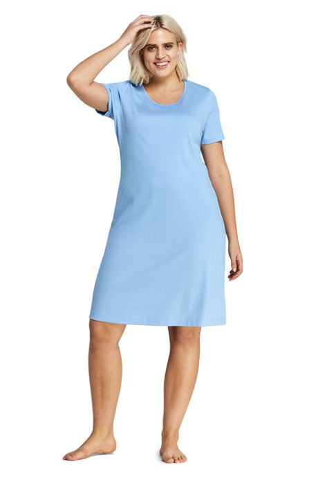 Women's Plus Size Supima Cotton Short Sleeve Knee Length Nightgown
