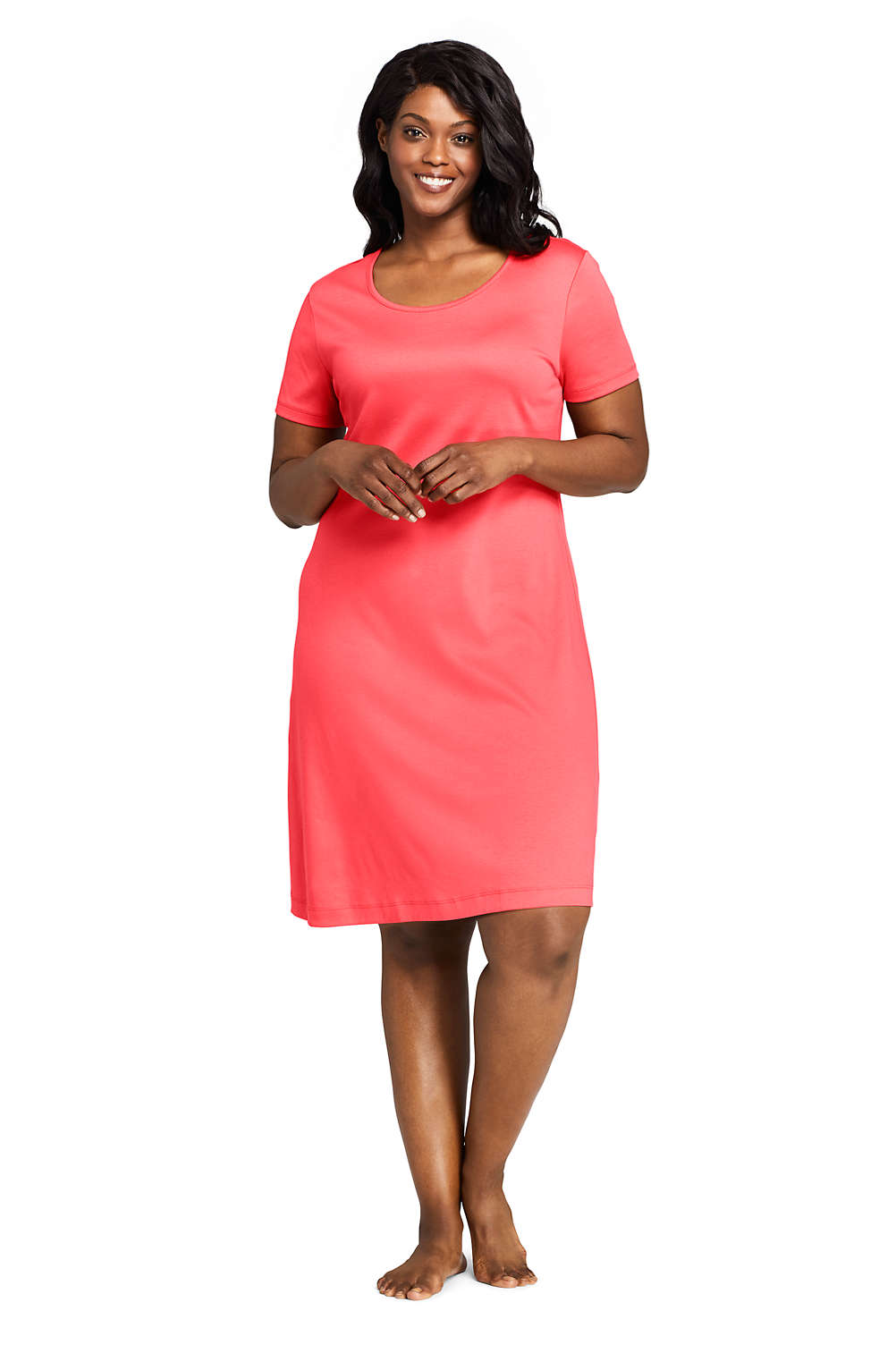 Women\'s Plus Size Supima Cotton Short Sleeve Knee Length Nightgown ...
