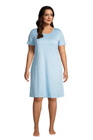 Women's Plus Size Supima Cotton Short Sleeve Knee Length Nightgown Dress