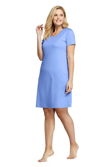Women's Plus Size Knee Length Supima Cotton Nightgown Short Sleeve
