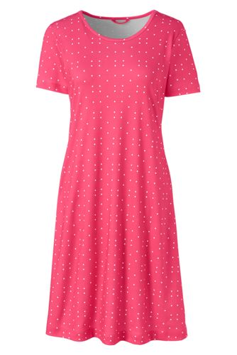 La Chemise de Nuit Mi-Longue Imprimée à Manches Courtes, Femme Stature Standard