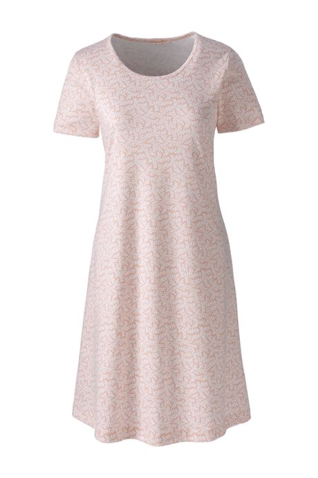 Women's Petite Knee Length Supima Cotton Nightgown Print Short Sleeve