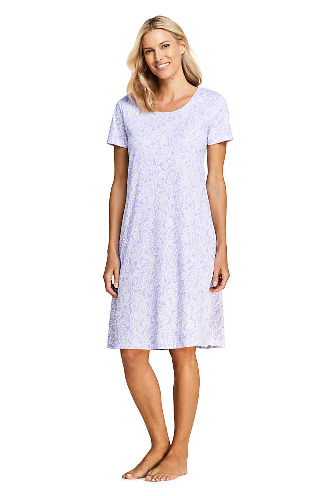 Women's Petite Supima Cotton Short Sleeve Knee Length Nightgown - Print, Front