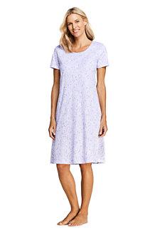 Knielanges Supima Kurzarm-Nachthemd, gemustert, für Damen
