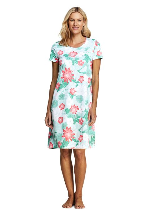 Women's Petite Supima Cotton Short Sleeve Knee Length Nightgown - Print