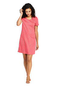Women's Petite Knee Length Supima Cotton Nightgown Print Short Sleeve