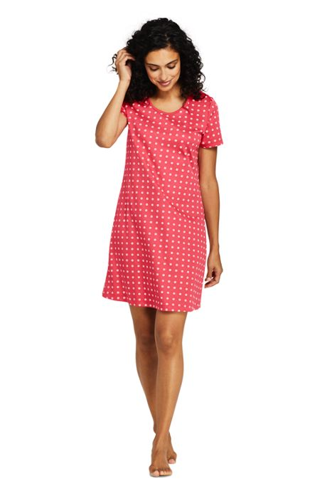 Women's Knee Length Supima Cotton Nightgown Print Short Sleeve