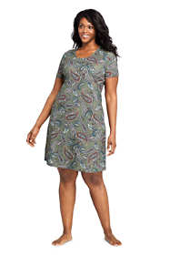 Women's Plus Size Supima Cotton Short Sleeve Knee Length Nightgown - Print