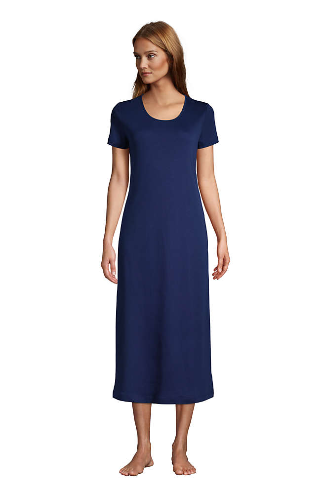 Women's Supima Cotton Short Sleeve Midcalf Nightgown Dress, Front