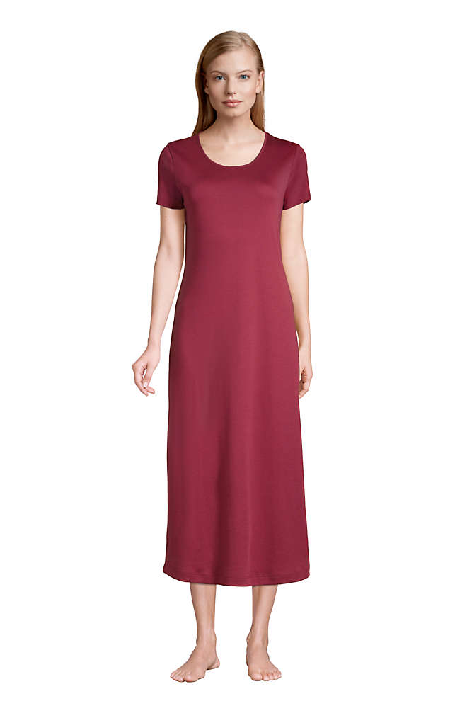 Women's Tall Supima Cotton Short Sleeve Midcalf Nightgown Dress, Front