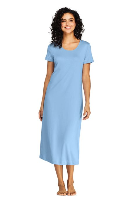 Women's Supima Cotton Short Sleeve Midcalf Nightgown Dress