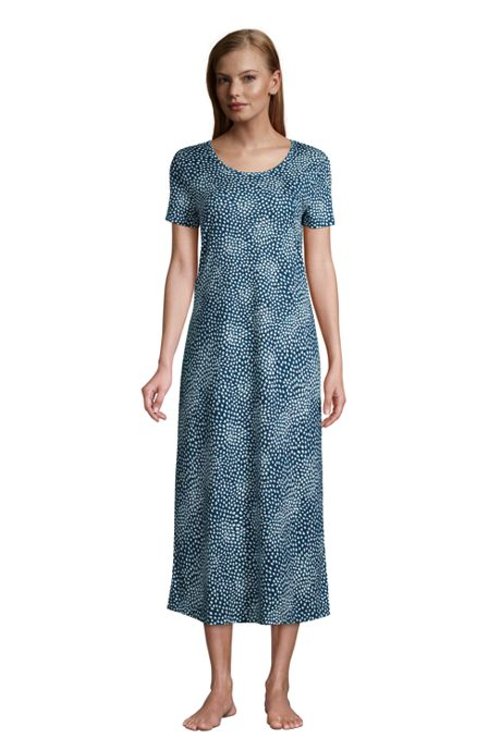 Women's Petite Supima Cotton Short Sleeve Midcalf Nightgown Dress