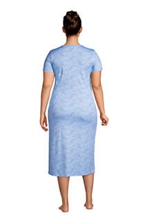 Women's Plus Size Supima Cotton Short Sleeve Midcalf Nightgown Dress, Back
