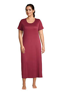 Women's Plus Size Supima Cotton Short Sleeve Midcalf Nightgown Dress, Front