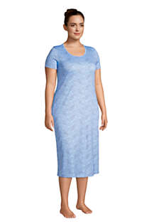 Women's Plus Size Supima Cotton Short Sleeve Midcalf Nightgown Dress, Unknown