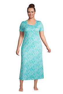 Wadenlanges Supima Kurzarm-Nachthemd für Damen
