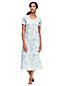 Women's Supima Patterned Short Sleeve Calf-length Nightdress