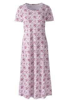 Women's Supima Patterned Short Sleeve Calf-length Nightdress