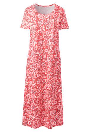 842c4a8498 Wadenlanges Supima Kurzarm-Nachthemd, gemustert, für Damen | Lands' End