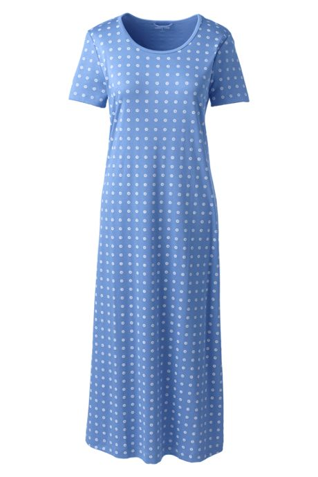 Women's Plus Size Midcalf Supima Cotton Nightgown Print Short Sleeve