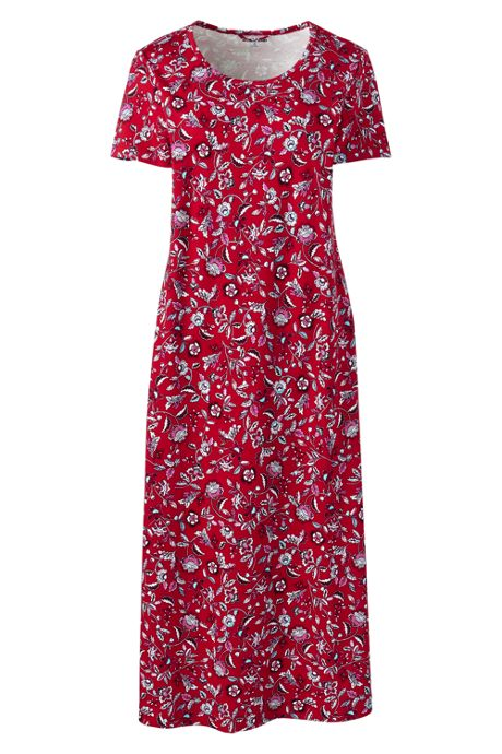 Women's Petite Supima Cotton Short sleeve Midcalf Nightgown - Print