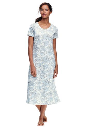 Womens Petite Supima Patterned Nightdress - 10 -12 - BLUE Lands End
