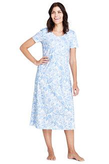 Wadenlanges Supima Kurzarm-Nachthemd, gemustert, für Damen