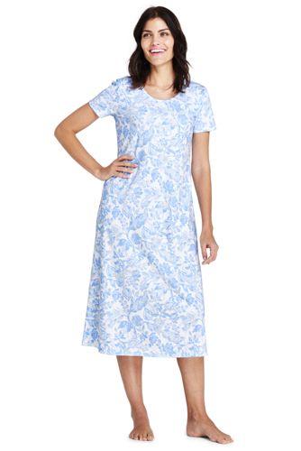La Chemise de Nuit Longue Imprimée à Manches Courtes, Femme Stature Standard