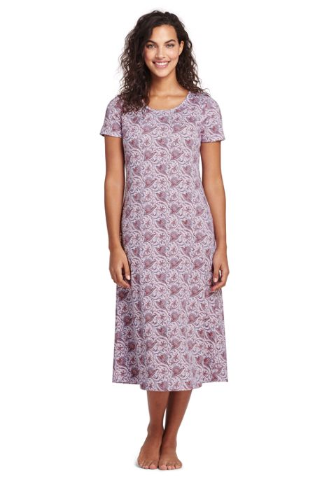 Women's Supima Cotton Short sleeve Midcalf Nightgown - Print