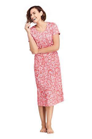 87f7f3f6b62 Women s Supima Patterned Short Sleeve Calf-length Nightdre