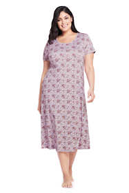 Women's Plus Size Women's Midcalf Supima Cotton Nightgown Print Short Sleeve