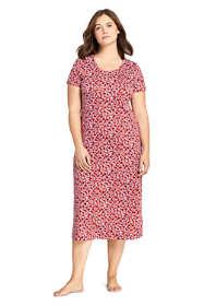 Women's Plus Size Women's Midcalf Supima Cotton Nightgown Print Short Sleeve