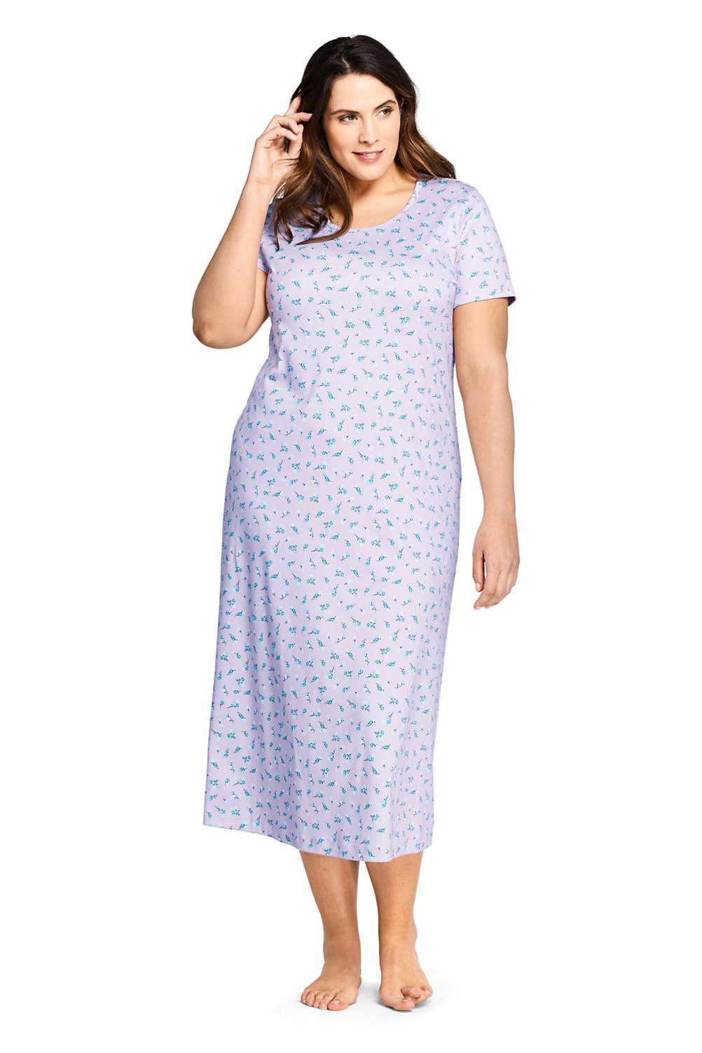 0e5a44379 Women's Plus Size Supima Cotton Short Sleeve Midcalf Nightgown - Print