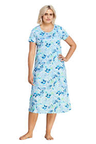 Women's Plus Size Supima Cotton Short Sleeve Midcalf Nightgown - Print