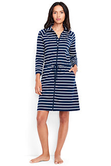 Women's Funnel Neck Zip Front Striped Cover-up Dress