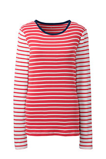 Women's  Cotton Rib Crew Neck Stripe Tee